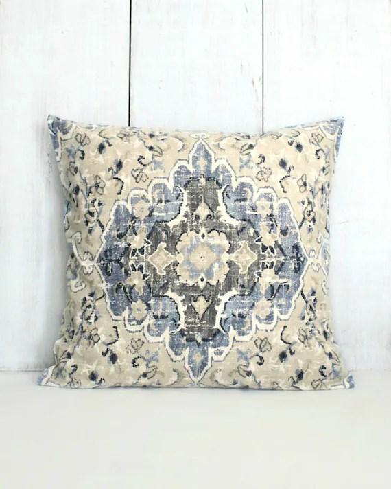 denim blue and tan medallion throw pillow cover 18x18 20x20 22x22 24x24
