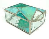 Stained Glass Box, Stained Glass Jewelry Box, Geometric stained glass, Contemporary glass, Glass Jewelry Box, Turquoise Glass Box, teal box