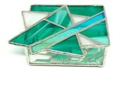 Turquoise Stained Glass Box, Geometric Stained Glass Box, Star of David, Glass Jewelry Box, Bat Mitzvah gift, Modern Glass Art, Judaica