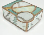 Stained Glass Box, Stained Glass Jewelry Box, geometric stained glass, teal glass, amber glass, Abstract Stained Glass, glass jewelry box