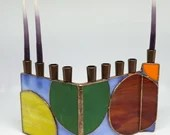 Stained Glass Chanukah Menorah, Hanukiah, Hanukkah Menorah, Primary Color Menorah, Jewish Holiday, Judaica, Colorful menorah, geometric