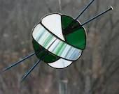 Stained Glass Ball of Yarn, Knitting gift, Stained Glass Sun Catcher, Kelly Green sun catcher, gift for knitter, green art glass, fiber art