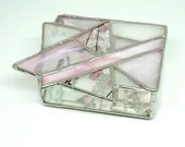 Pink Stained Glass Box, Geometric Stained Glass Box, Contemporary Glass, Star of David, Stained Glass Jewelry Box, bat mitzvah gift, Judaica