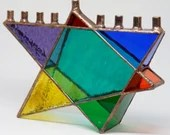 Stained Glass Chanukah Menorah, Rainbow Star of David, Hanukkah Menorah, multi color menorah, Hanukiah, Wedding Gift, Judaica, Bridal shower