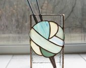 Stained Glass box, Vintage Knitting Needles, Knitting needle Vase, ombre yarn, teal stained glass, gift for knitter, ball of yarn, amber