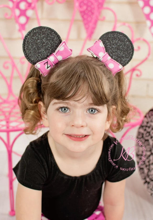 minnie mouse ears hair clips, disney birthday pigtail clips, personalized initial bow, mickey, disneyland vacation, school barrettes