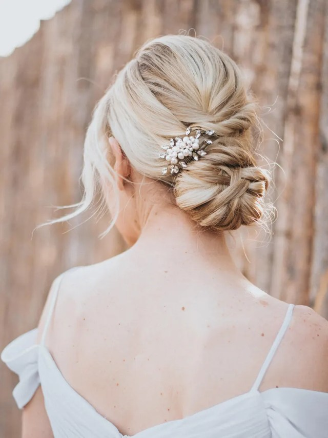 """beaded hair comb, pearl hair accessories, bridal accessories - """"lela"""" small pearl and rhinestone hair comb (silver, gold, rose gold or opal)"""
