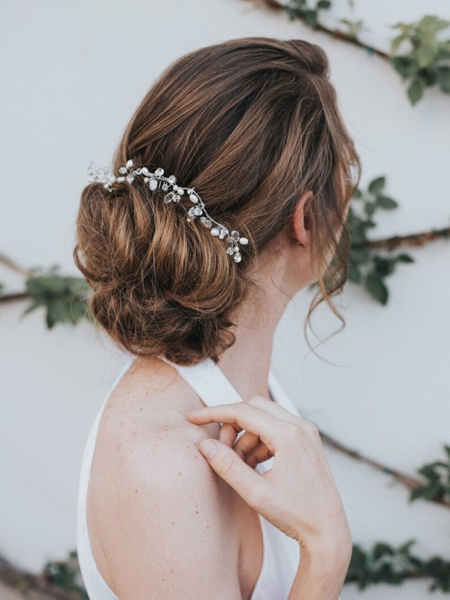 """bridal hair accessories, wedding hair accessories - """"stacy"""" hand-beaded bridal hair comb (silver, gold, rose gold or opal)"""