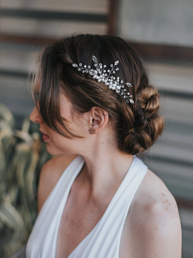 """bridal hair acessories, wedding hair accessories - """"cherise"""" small pearl, rhinestone and crystal hair comb in silver, gold or rose gold"""