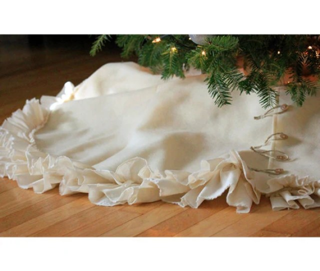 Limited Item Plush Deconstructed Ruffle Christmas Tree Skirt Available In Ivory Eco Fi Felt