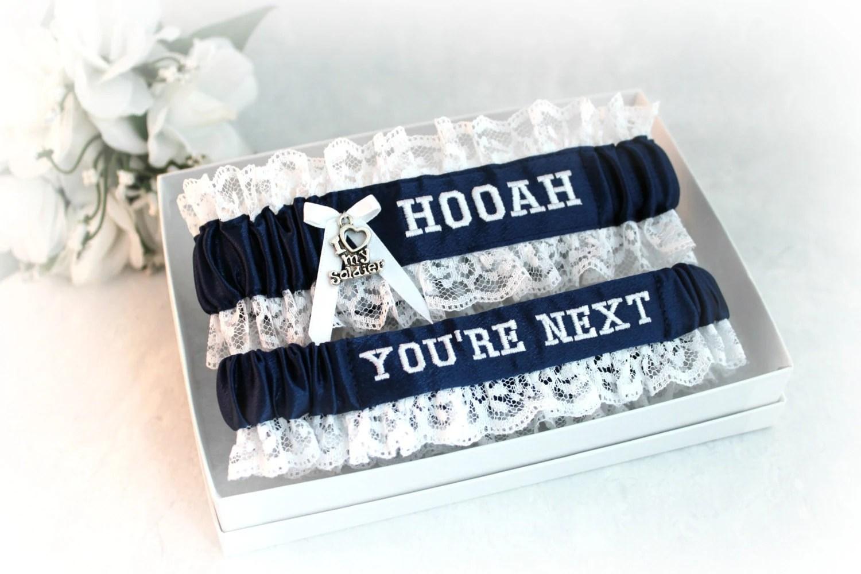 Army Wedding Garter Set With HOOAH Military Bridal Garters