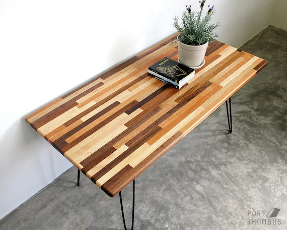 mixed wood coffee table hairpin legs walnut modern furniture mid century eames style reclaimed hardwood design