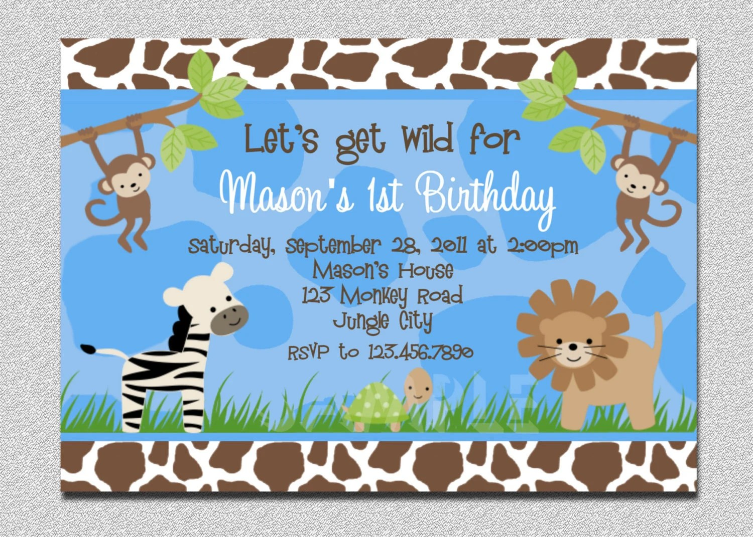 jungle birthday invitation boys jungle