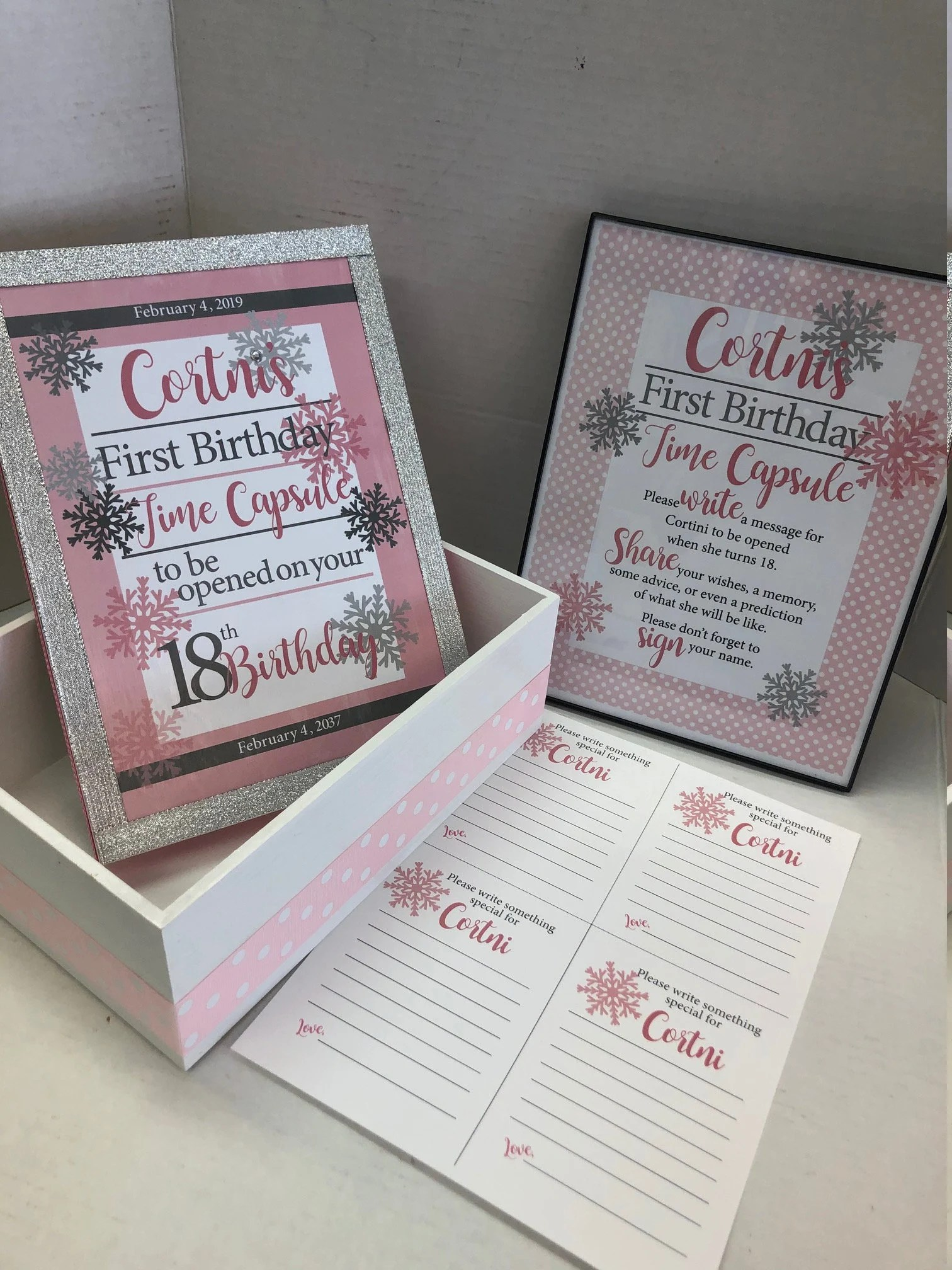 With Framed Instructions And Cards To Print Winter Snowflake Themed First Birthday Time Capsule Custom Home Living Baskets Bowls Vadel Com