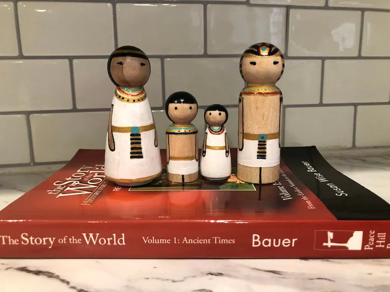 Ancient Egyptian peg doll family