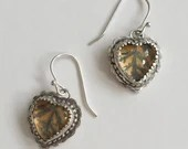 Small Sterling silver Glass Heart Bezel Dangle Earrings with Yarrow Leaves (ED-SGHB)
