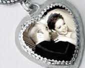 Sterling silver Customized Medium glass heart bezel photo locket pendant (P-LGHB)