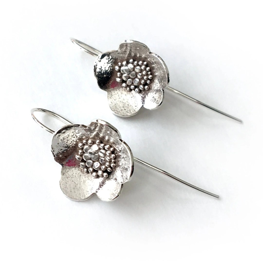 Large Granulated Sterling silver Blossom Drop Earrings (ED-LGBD)