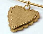 Large Gold Scalloped Heart Sweater pin/Brooch and Pendant, (safetypin project)