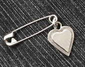 Small Silver or Bronze Layered Heart Sweater pin/Brooch and Pendant (safetypin project)