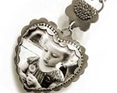 Customized Large Sterling silver glass heart bezel photo locket pendant (P-LGHB)