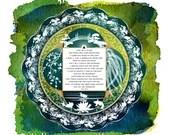 Shantideva's Prayer, Advaharma Mandalah - Mindfulness Meditation Watercolor Papercut - Print