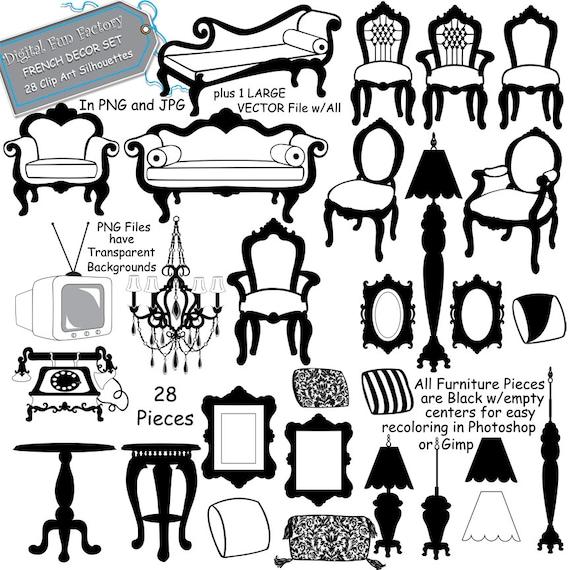 Silhouette Clip Art Furniture Silhouette Clip Art Etsy