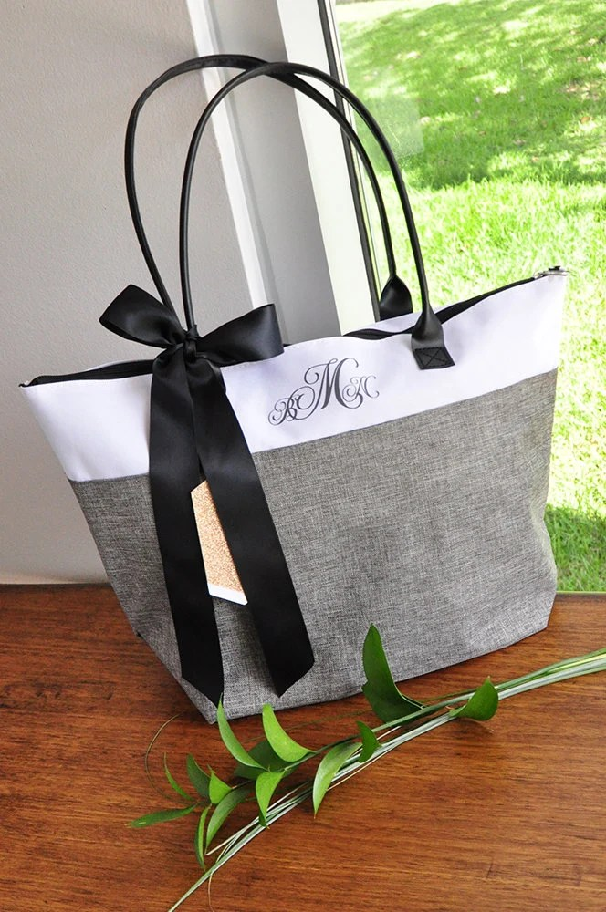 Personalize Tote Bag for Bridesmaids Qty. 1. Monogram Tote image 2