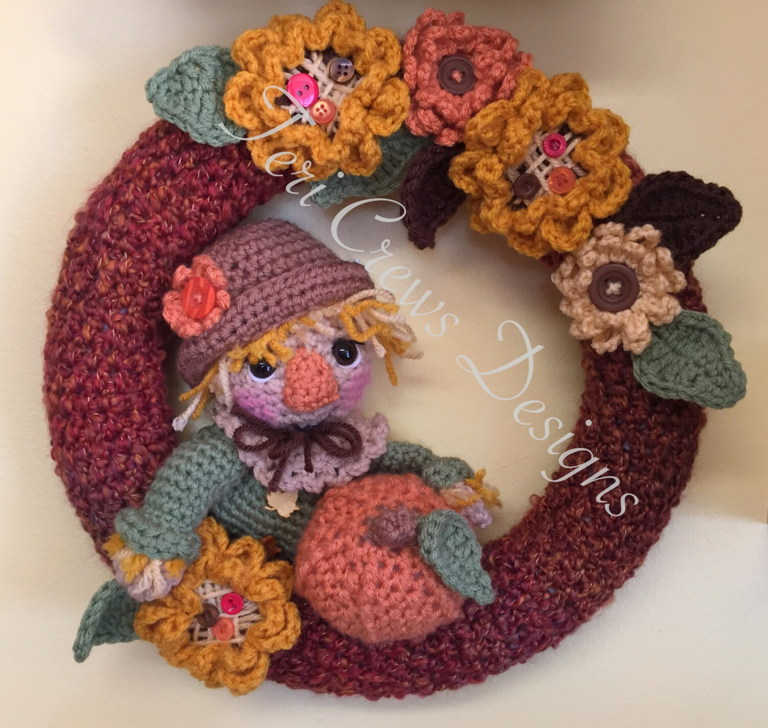 Fall Scarecrow Wreath Crochet Pattern By Teri Crews
