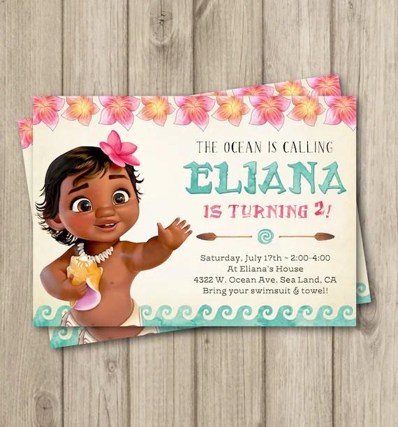 moana birthday invitation baby moana invitation baby moana birthday party invitation girl moana party digital invitation 5x7