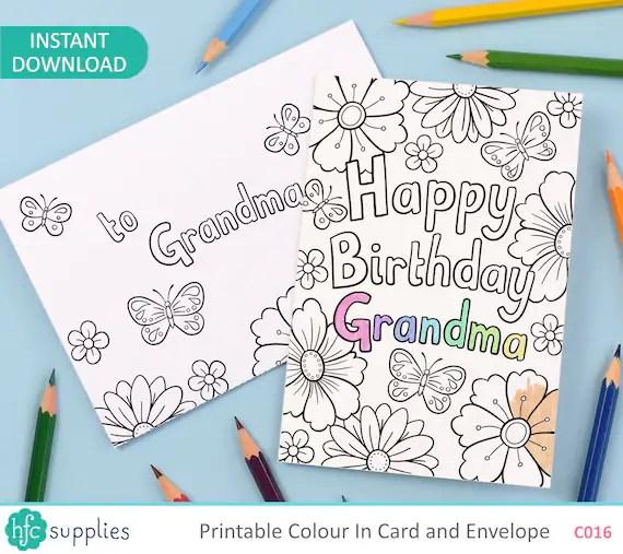 Happy Birthday Grandma Printable Colour In Card And Envelope Etsy