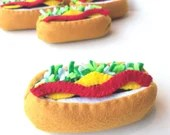 Felt food Hot dog set eco friendly childrens pretend felt play food for kids toy kitchen, felt hot dog, pretend hot dog, toy hot dog