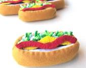 Felt play food hot dog
