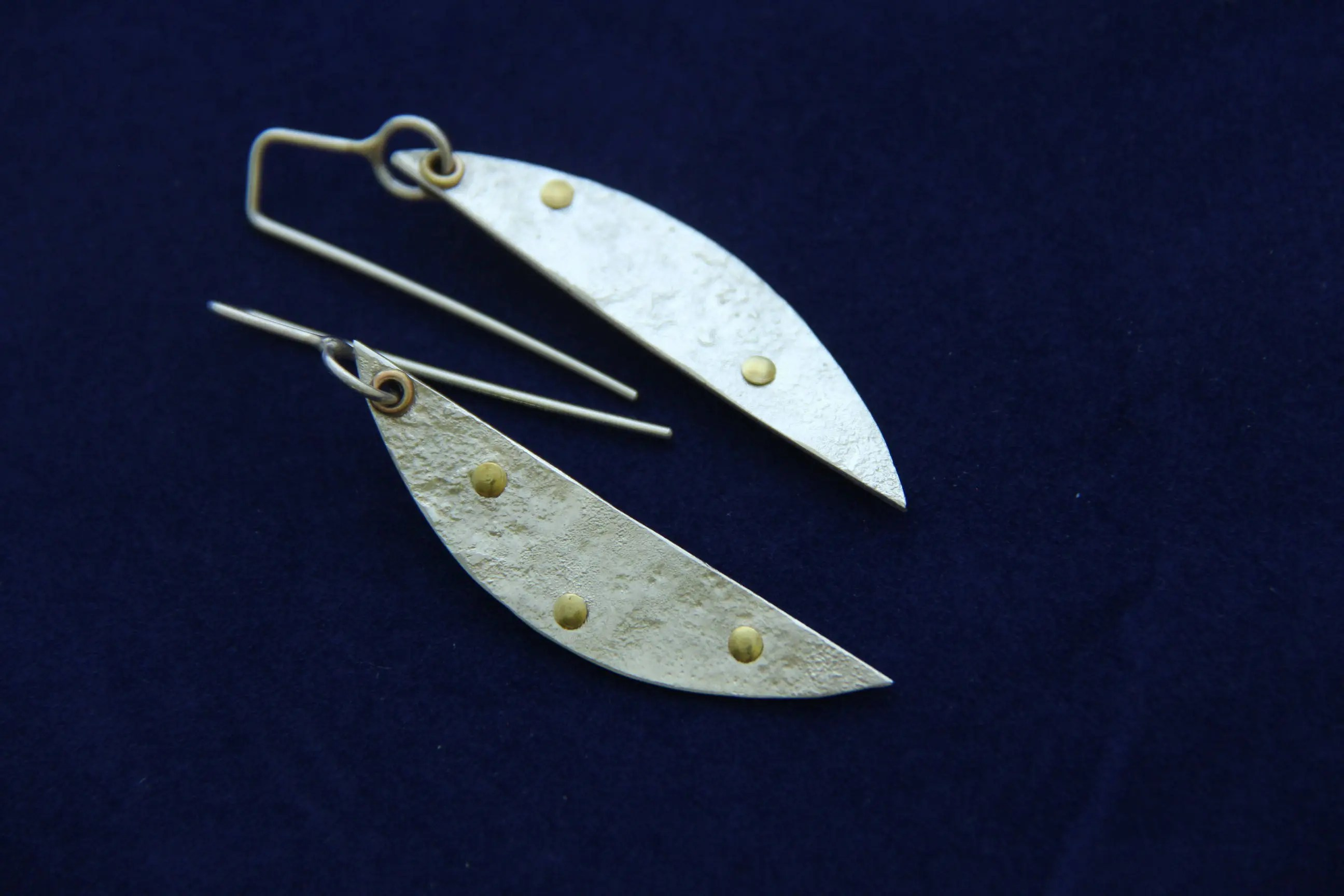 Sl Silver Earrings Half Moon Shape Modern Design