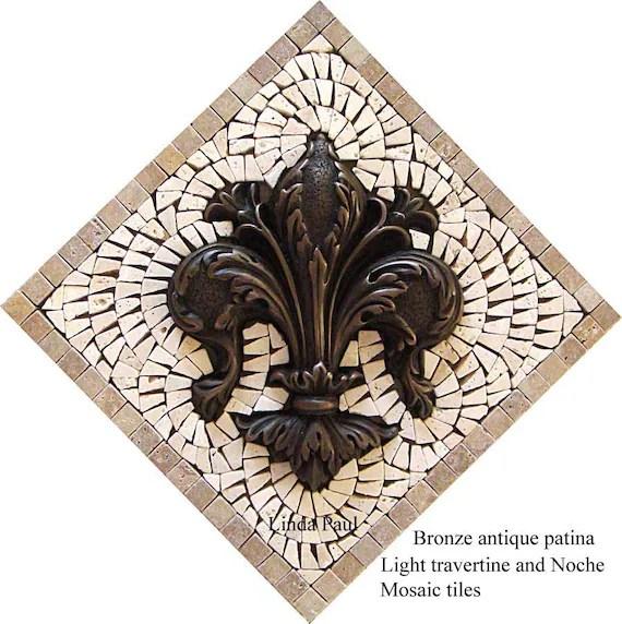 fleur de lis backsplash mosaic kitchen tile medallion etsy