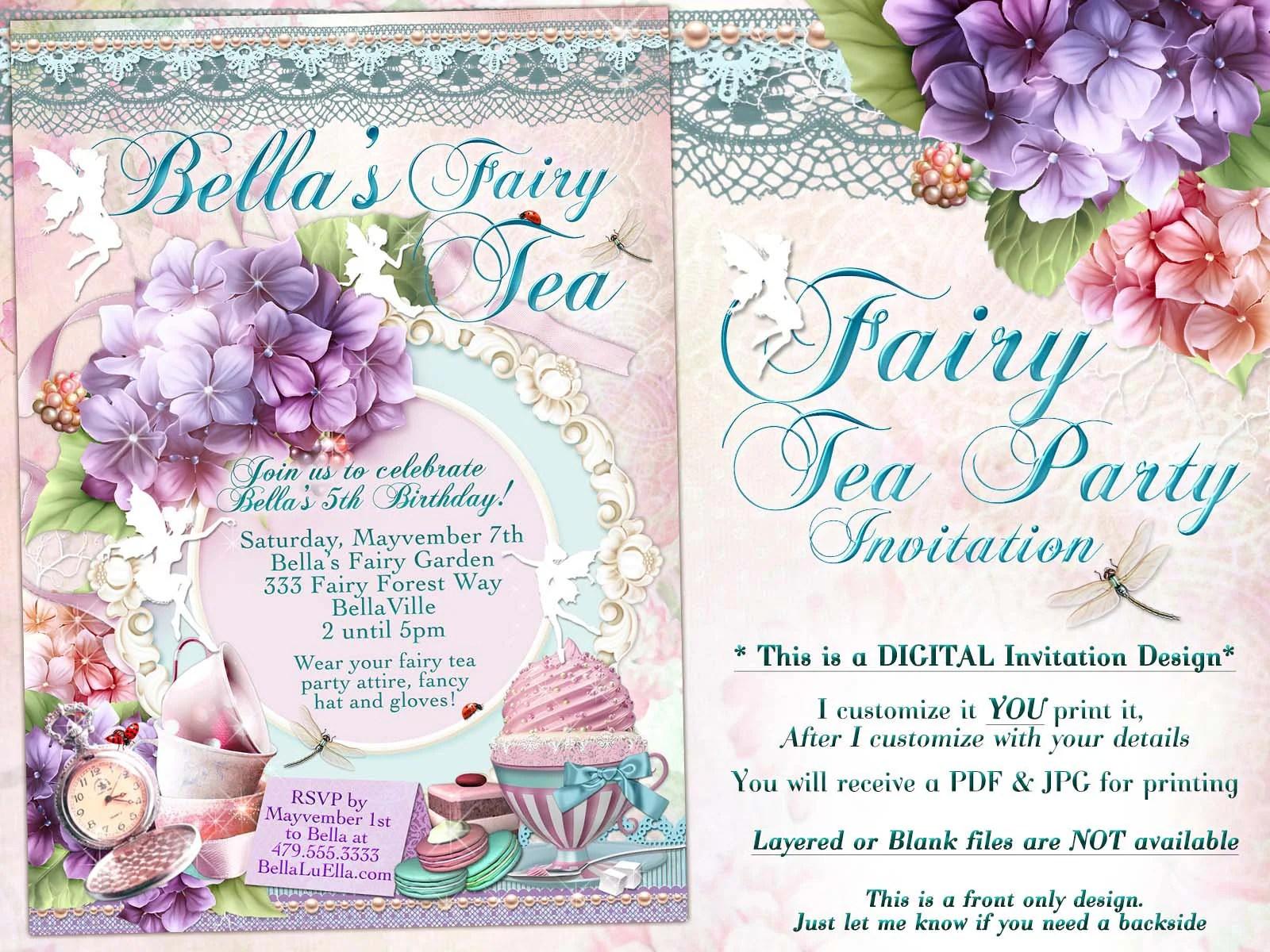 fairy tea party invitation hydrangea