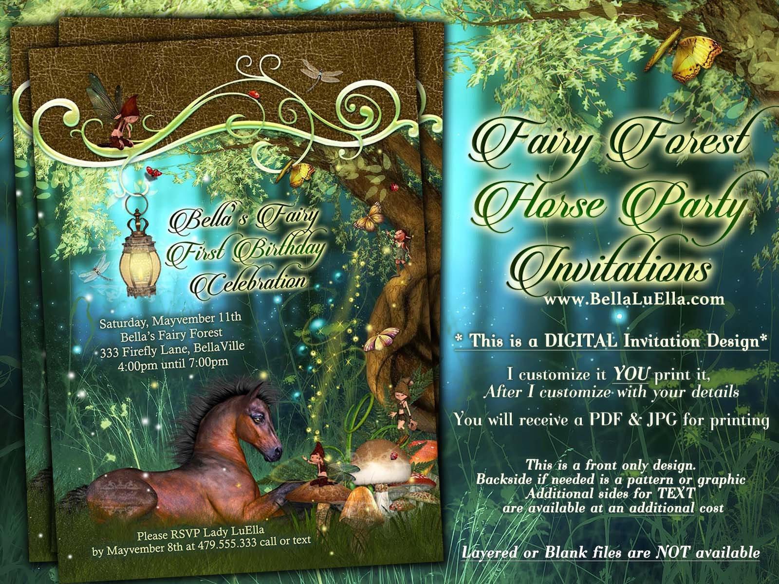 fairy horse birthday party invitation