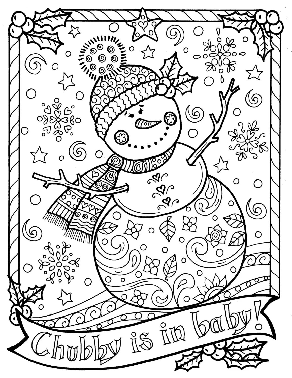 Snowman Coloring Page Chubby Christmas Adult Color