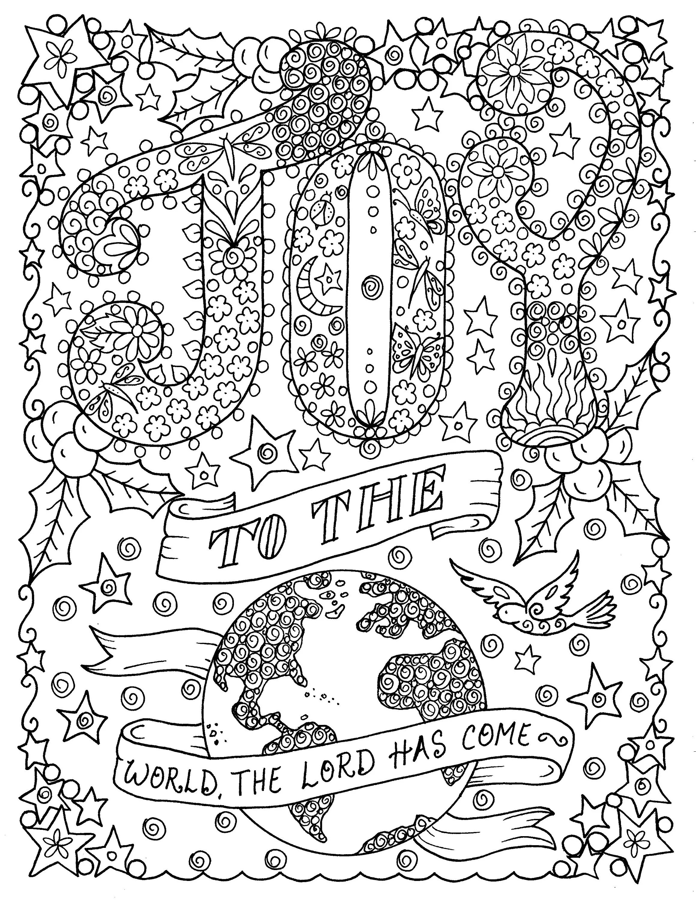 Joy To The World Printable Coloring Page Church Christian