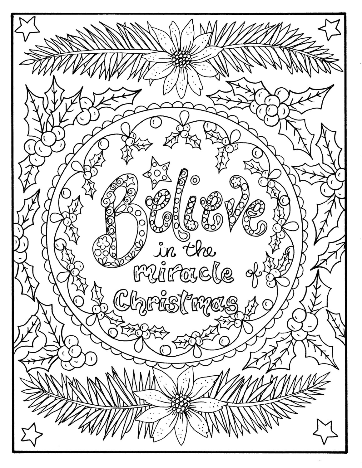 Christmas Coloring Page Believe In The Miracle Adult
