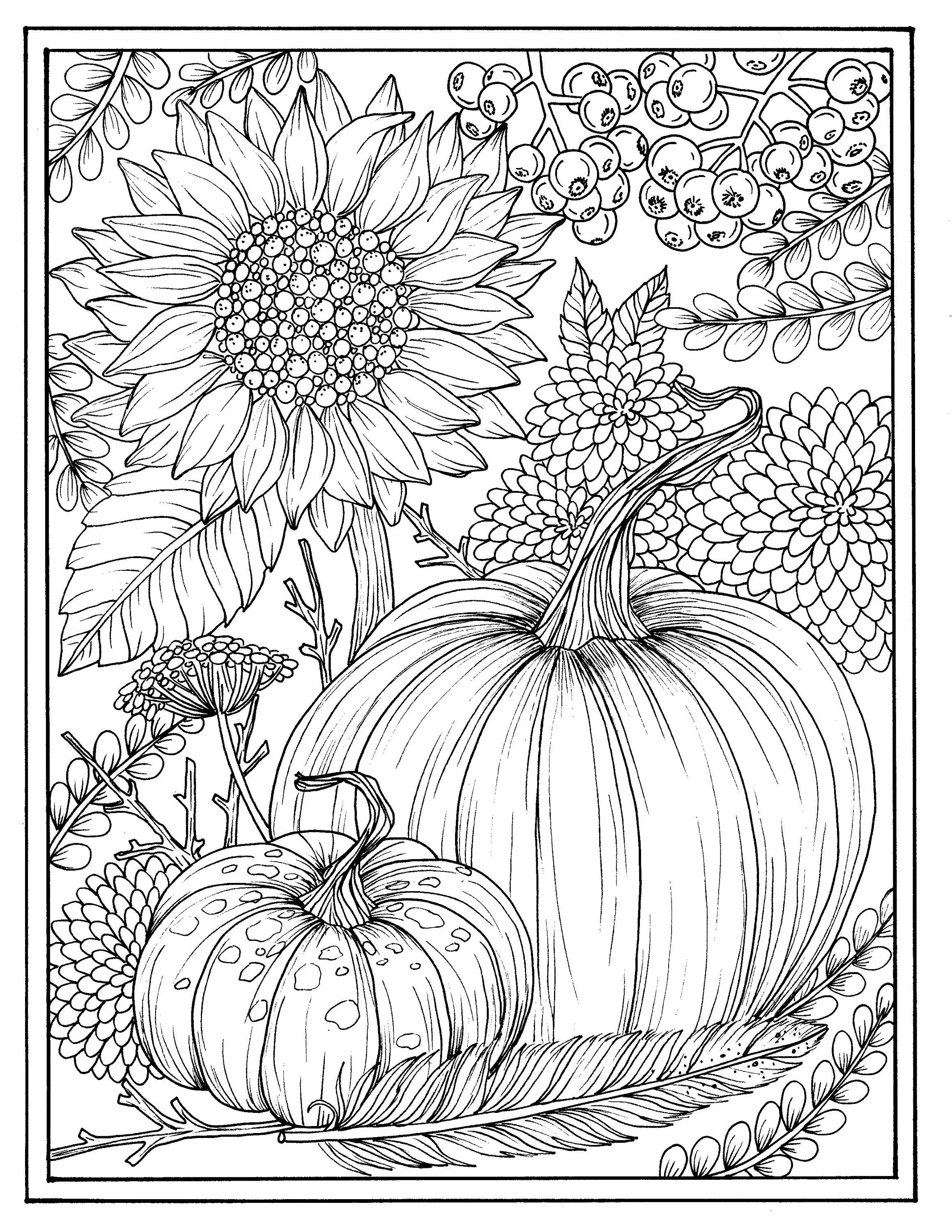 Fall Flowers And Pumpkins Digital Coloring Page