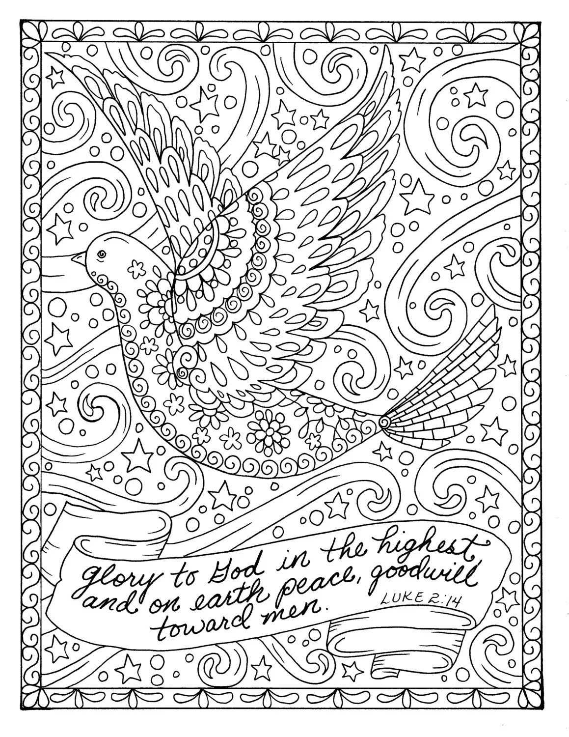 Christmas Coloring Page Dove Christian Scripture Adult