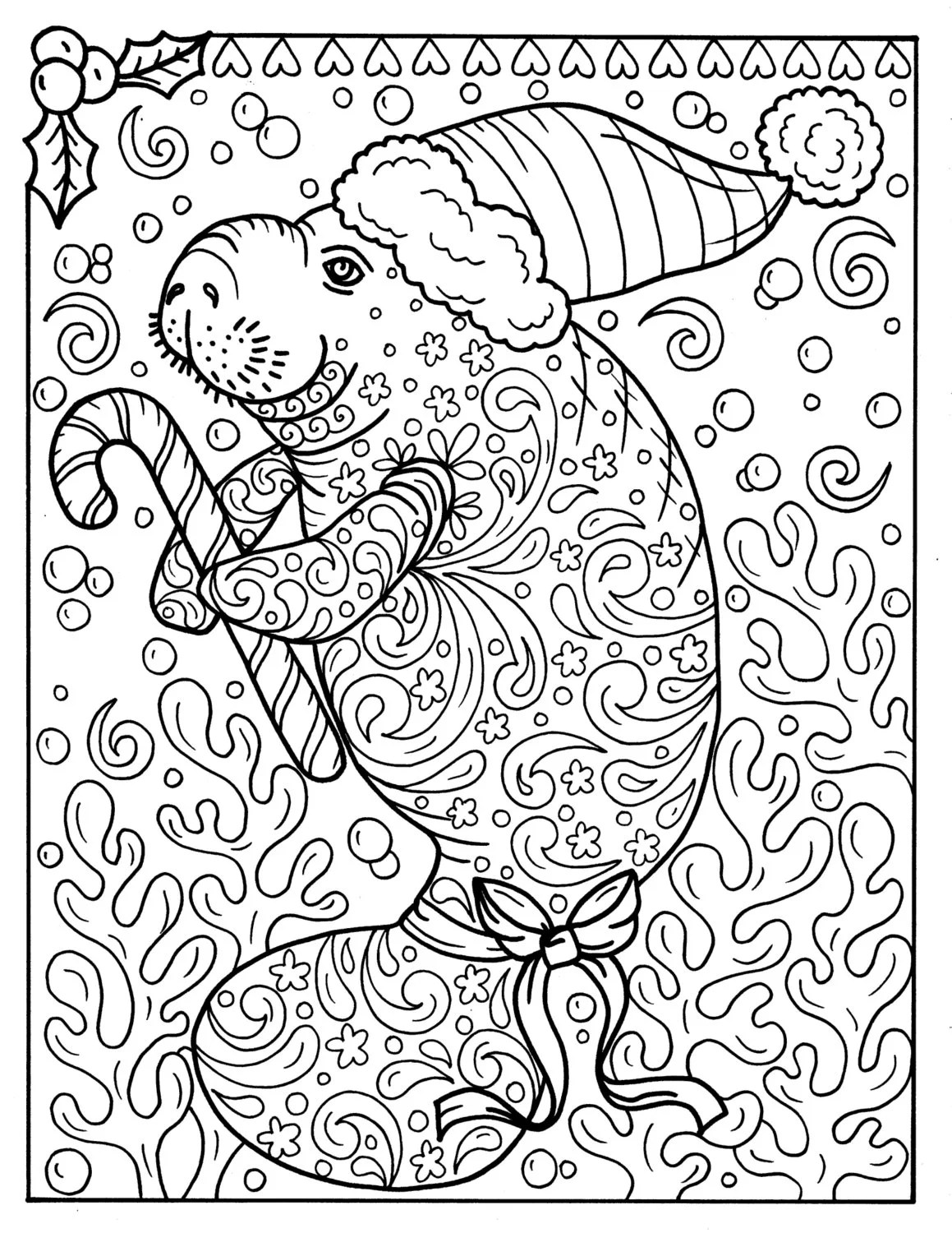 Manatee Christmas Coloring Page Instant Download Adult