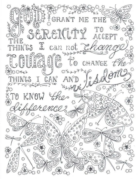 Serenity Prayer Coloring Page Digital Download Coloring Etsy