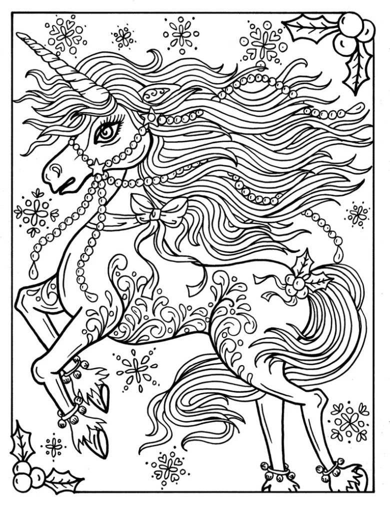 christmas unicorn adult coloring page coloring book holidays fantasy art