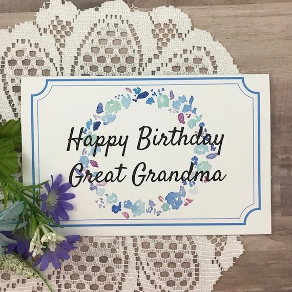 Printable Birthday Card For Great Grandma Greeting Card For Etsy
