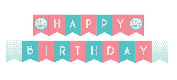 Diy Printable Spa Party Happy Birthday Banner Instant Download Etsy