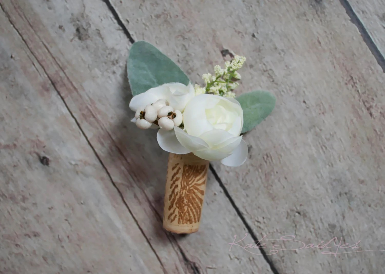 Wine Cork Boutonniere White Peony Boutonniere With Lambs