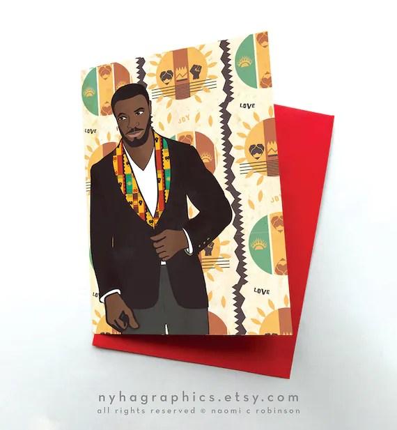 African American Birthday Card For Him Black Men Card Black Etsy
