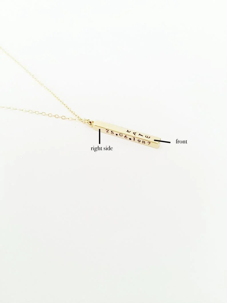 Personalized 3D Bar Necklace // Custom Name Date Phrase image 2